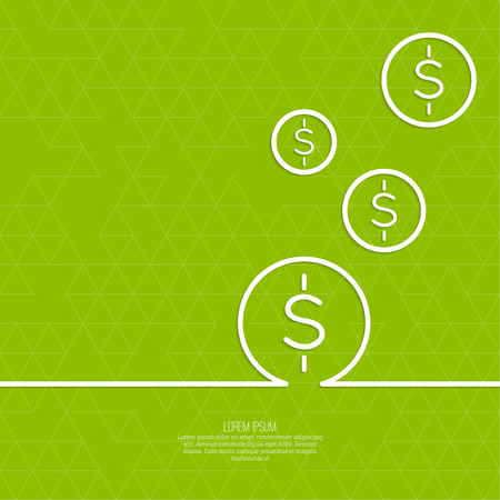 the reporting: Abstract green background with triangles and falling coins. For financial reporting, revenue growth, earnings, advertising contribution, add deposits and loans