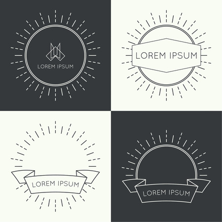 Set of vintage hipster banners,  insignias,  radial  sunbusrt with ribbon and geometric shapes. Border and frame. Minimal design. Outline. space for text or logo Ilustração