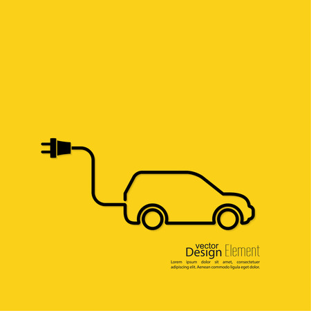 car plug: Icon of a hybrid car that runs on electricity. Recharge and clean energy. flat design. minimal. Outline. yellow background