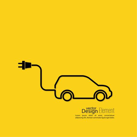 electricidad: Icono de un coche h�brido que funciona con electricidad. Recarga y energ�a limpia. dise�o plano. m�nima. Esquema. fondo amarillo Vectores