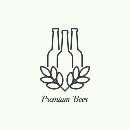 draft beer: Beer brewery emblems, icon, label, design element. For pub menu, bar, restaurants, signage.  minimal. Outline Illustration