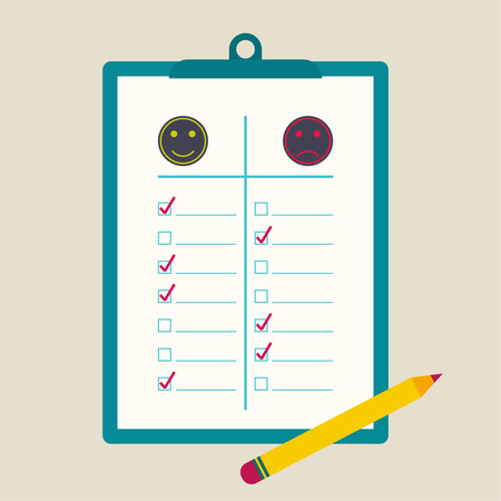 clipboard  to comparative rating with check box and pencil. The concept of evaluation and feedback. Positive and negative emotions. flat design. Illustration