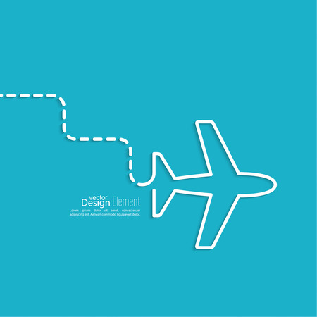 Icon airplane. the dashed line represents the movement and the way. speed airlines.  Outline. minimal.