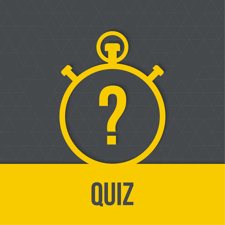 question concept: Timer with a question. Quiz. The concept is the question with the answer. Icon with  ribbon for mobile applications