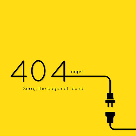 disconnection: 404 connection error. Abstract background with wire plug and socket. Sorry, page not found. vector.