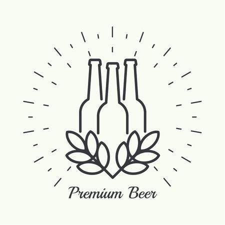 Beer brewery emblems, logo, label, design element. For pub menu, bar, restaurants, signage.  minimal. Outline Vector