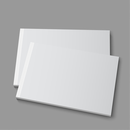 Blank empty magazine, album or book template lying on a gray background. vector Ilustracja