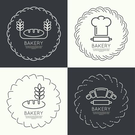 toque: Set of round frames and banners. Pastries, bread, bakery, ears