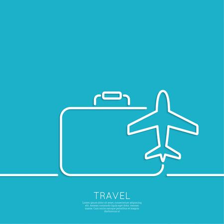 飛行機とスーツケースのアイコン  イラスト・ベクター素材