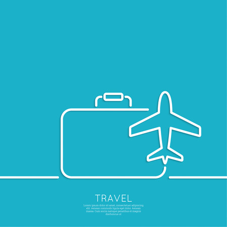 Icon of airplane and suitcase Illustration
