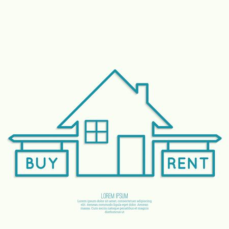 tenancy: Concept of choice between house buying and tenancy Illustration