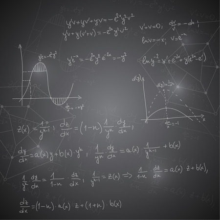 mathematical proof: Abstract Background with mathematical formulas, calculations, graphs, proof, molecule structure and scientific research, genetic and chemical compounds.