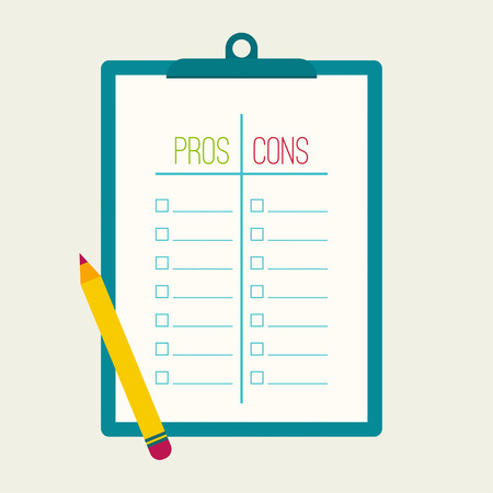 Pros and Cons list Vettoriali