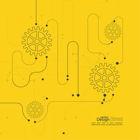 dotted lines: Abstract background with gear wheel, geometric shapes and dotted lines Illustration
