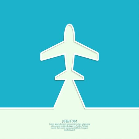 airplane: Icon airplane and banner for text. Outline. minimal.