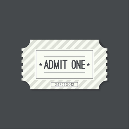old movie: Entry ticket to old vintage style. Admit one theater, cinema, zoo, swimming pool, fair, rides, swing, amusement park, carousel. icon for online booking of tickets. Web and mobile app Illustration