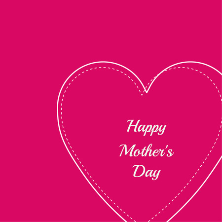 heart outline: Happy mother day background. Red heart. outline Illustration