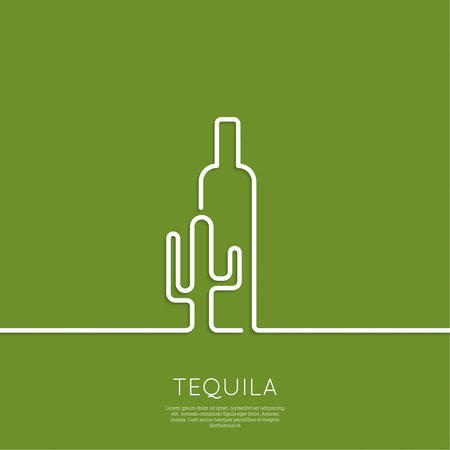 alcohol logo: Bottle of tequila with cactus on a green background. Icon, symbol, logo alcohol. For the menu, bar, restaurant, wine list. minimal. Outline Illustration