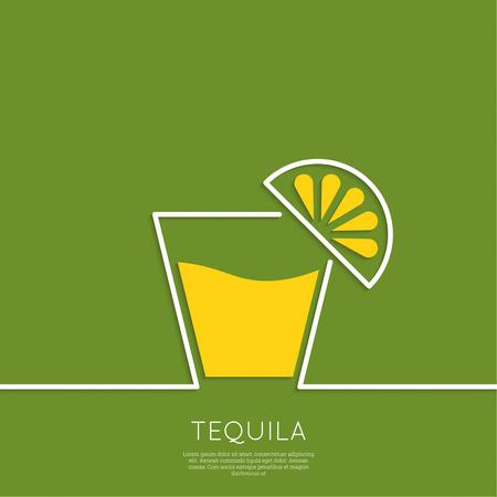 レモンとテキーラのグラス  イラスト・ベクター素材