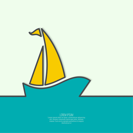 yacht race: Abstract background with Sailboat sailing in the sea