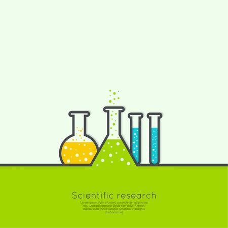 beaker: El concepto de réplicas de ciencias químicas de laboratorio de investigación, vasos, frascos y otros equipos. Las pruebas biológicas y científicas. de descubrimiento de nuevas tecnologías