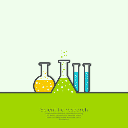 biological science: The concept of chemical science research lab retorts, beakers, flasks and other equipment. Biological and scientific tests. discovery  new technologies