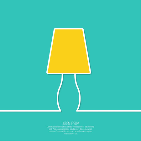 illuminator: Floor lamp on Green abstract background Illustration