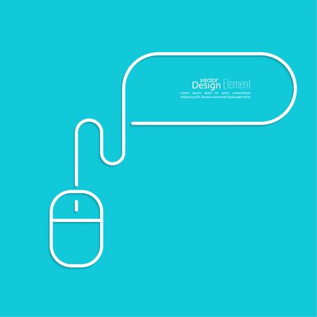 myszy: Symbole mysz komputerowa z kablem. bąblu. Zarys