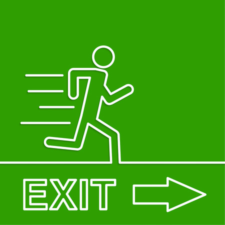 green exit emergency sign: Emergency exit sign. Running man on a green background
