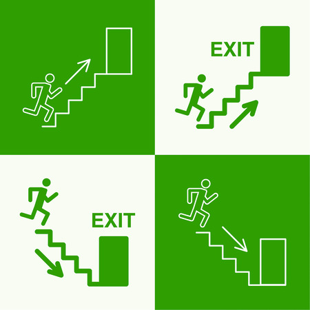 Emergency exit sign.  Running man on a green background. vector. Outline, minimal Vector