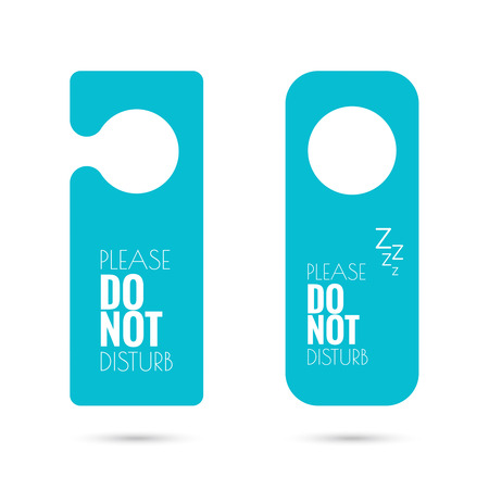 closed door: door hanger set, do not disturb in blue