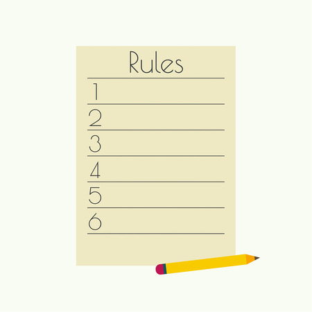 govern: Rule list with a pencil. numbered list
