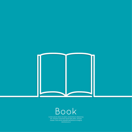library book: Icon of an open book. minimal. Outline. for web and mobile applications