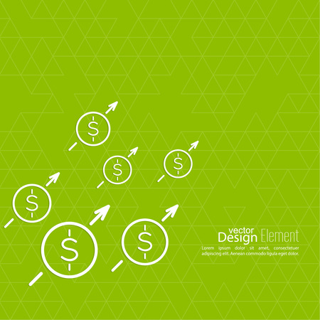 profitable: The graph shows the growth and profit. Income from a successful investment. Bank asset growth through profitable investments. green background. dollar sign Illustration
