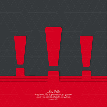 exclaim: Exclamation mark icon. Attention sign icon. Hazard warning symbol  in red background. vector