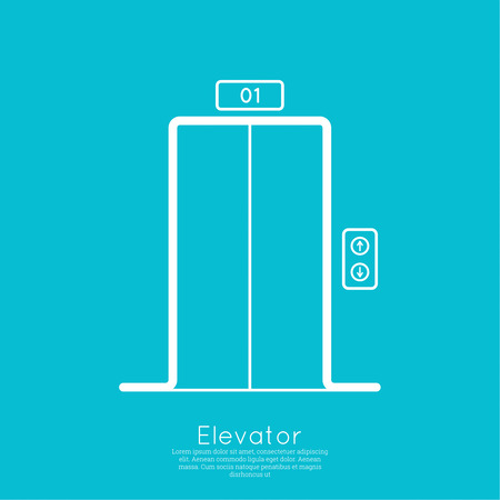 hotel room door: Icon elevator with closed doors. vector. minimal, outline. Illustration