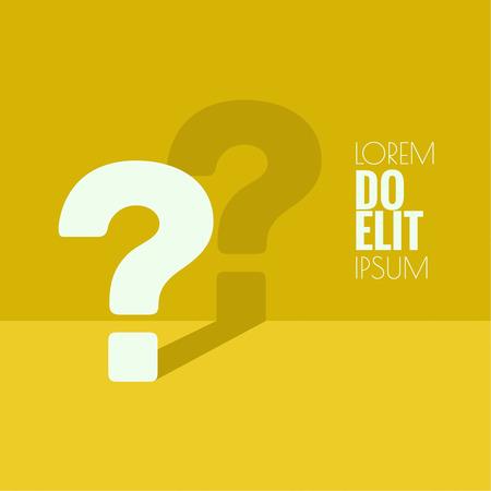 Icona punto interrogativo. Simbolo della Guida. FAQ segno su uno sfondo giallo. vettore