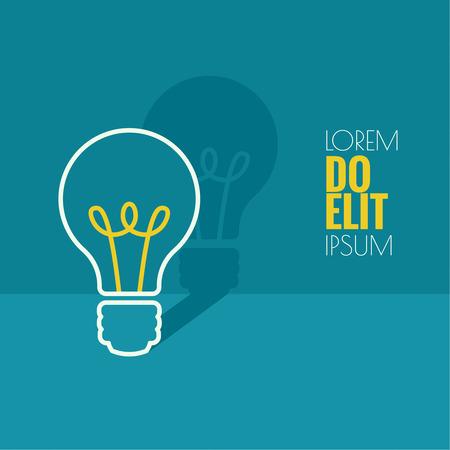 전구 빛 아이디어. 평면 디자인. 아이디어 영감 혁신, 발명, 효과적인 사고의 개념