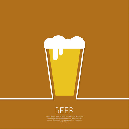mug of ale: Abstract background with Beer glass with yellow liquid and foam. Logo for restarana, pub menu, cafe, signage. minimal. Outline Illustration