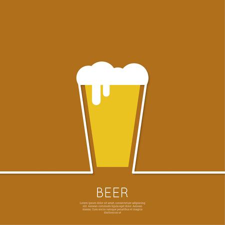 Fondo abstracto con el vidrio de cerveza con el líquido amarillo y espuma. Logotipo para restarana, menú de pub, cafetería, señalización. mínima. Contorno