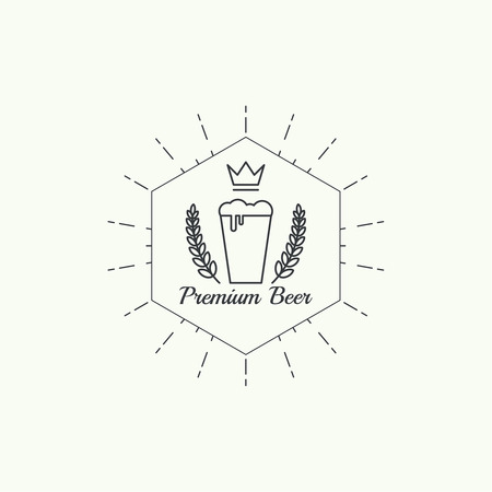 draft beer: Beer brewery emblems, logo, label, design element. For pub menu, bar, restaurants, signage. minimal. Outline Illustration