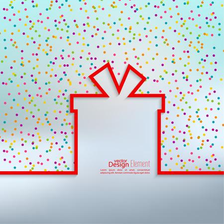 Dárková krabička s plochým stínem a vícebarevné konfety slavnostní. transparenty, grafické nebo webové stránky šablony rozvržení.
