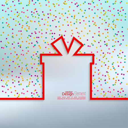 Gift box with flat shadow and multicolored confetti festive.  banners, graphic or website layout template. Çizim