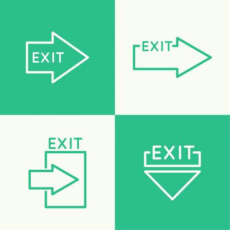 salida de emergencia: Emergencia icono de señal de salida. vector. Contorno, mínimo.