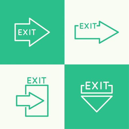 emergency exit sign icon: Emergency exit sign icon. vector. Outline, minimal.