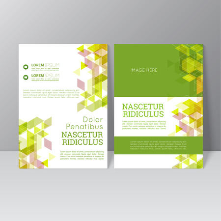 book cover backgrounds: Vector brochure template design with triangles, icons and different elements. Flyer or booklet Layout. Spring, green products, eco and bio clearance