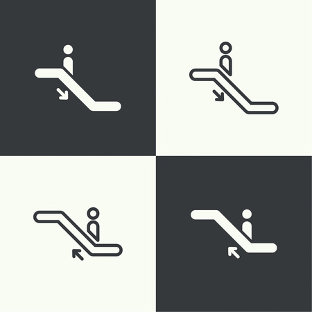 ascent: Set of icons pointers descent and ascent on an escalator