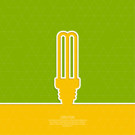 edison: Energy saving fluorescent light bulb icon. concept of big ideas inspiration innovation, invention, effective thinking. text. minimal. Outline.