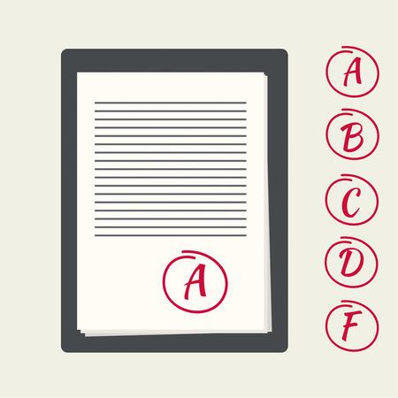시험 서류와 클립 보드. 시험 작업에 대한 성적 기준