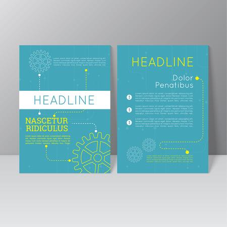 portadas: Diseño del modelo del folleto del vector con los engranajes, la línea de puntos y diferentes elementos. Flyer o Diseño de folleto. azul